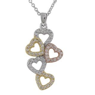 Luxiro Sterling Silver Tri-color Cubic Zirconia Hearts Pendant Necklace