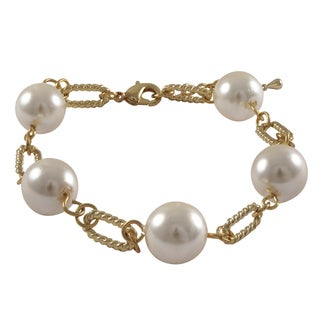 Luxiro Gold Finish White Faux Pearl Link Bracelet
