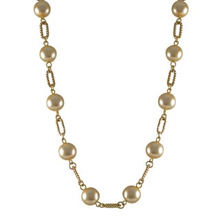 Luxiro Gold Finish Champagne Faux Pearl Link Necklace