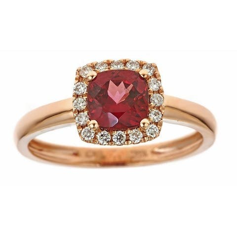 Anika and August 10k Rose Gold Cushion-cut Rodholite and Diamond Ring
