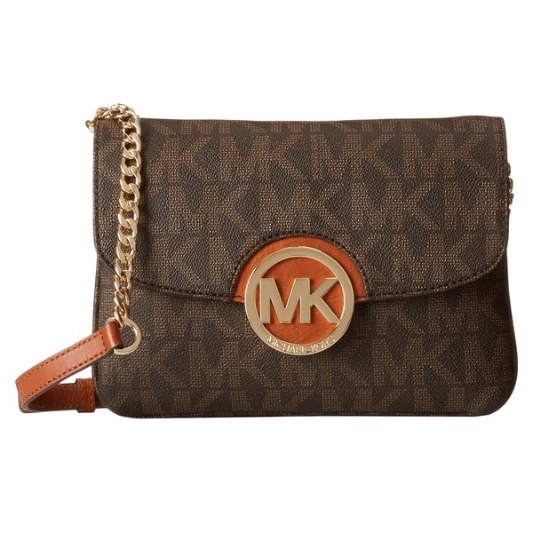 5d591db2a Shop Michael Kors Fulton Flap Gusset Brown Crossbody Handbag - Free ...