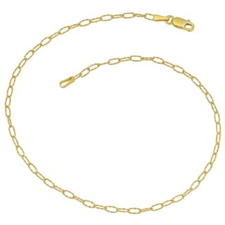 Fremada 14k Yellow Gold Diamond-cut Oval Link Anklet (10 inches)