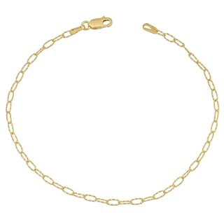 Fremada 14k Yellow Gold Diamond-cut Oval Link Bracelet (7.5 inches)