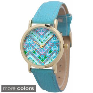 Olivia Pratt Aztec Print Leather Watch