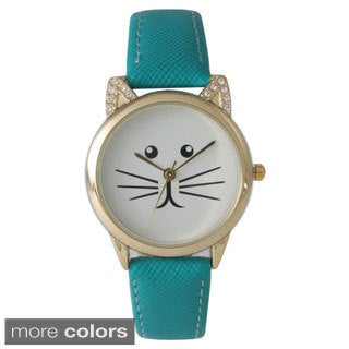 Olivia Pratt TomCat Stone Ears Leather Watch