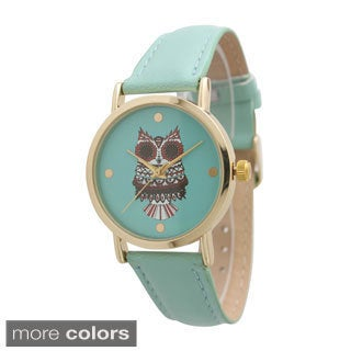Olivia Pratt Batik Owl Leather Watch