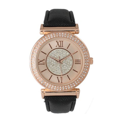 Olivia Pratt Elegant Center Sparkle Leather Watch