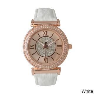 Olivia Pratt Elegant Center Sparkle Leather Watch (Option: White)