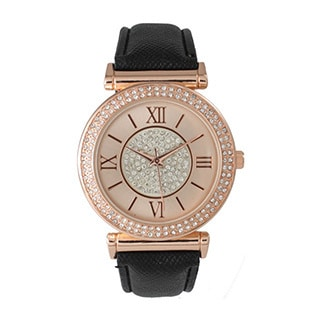 Olivia Pratt Elegant Center Sparkle Leather Watch