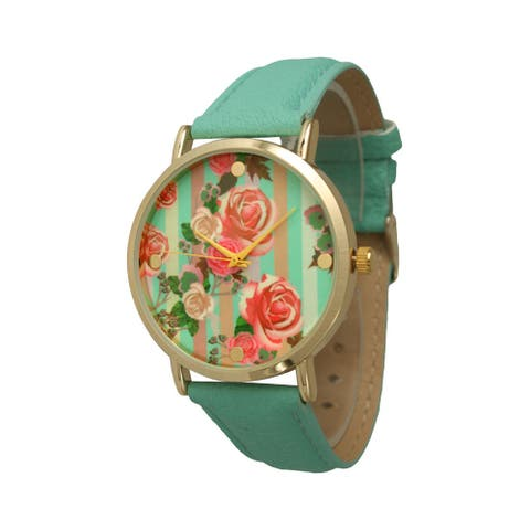 Olivia Pratt Stripes & Roses Leather Watch