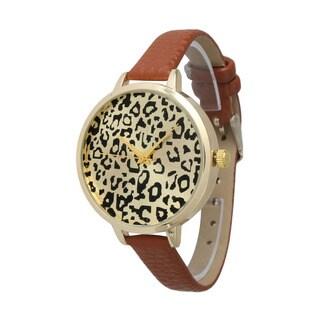 Olivia Pratt Cheetah Skinny Leather Band Watch
