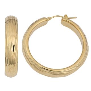 Oro Forte 14k Yellow Gold High Polish Fancy Surface Hoop Earrings