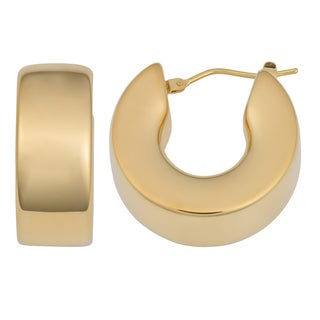 Oro Forte 14k Yellow Gold Bold High Polish Hoop Earrings