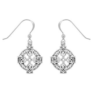 Sterling Silver Celtic Knotwork Cross Dangle Earrings