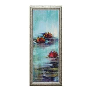 Lorena Karen Parker 'Aqua Lotus ll' 16 x 40 Framed Art Print