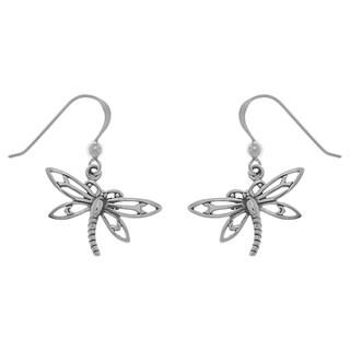 Sterling Silver Dragonfly Dangle Earrings