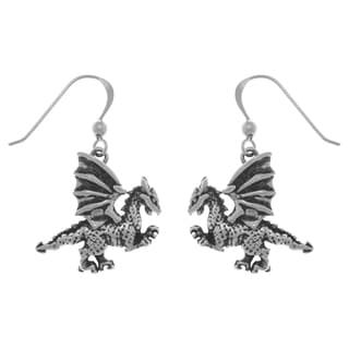 Carolina Glamour Collection Sterling Silver Fierce Clawing Dragon Dangle Earrings