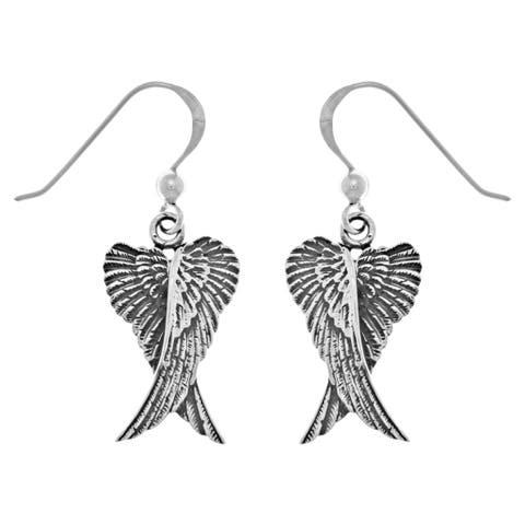 Sterling Silver Guardian Angel Wings Dangle Earrings