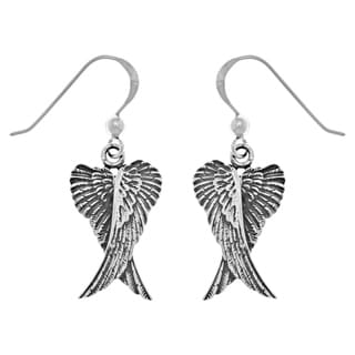 Sterling Silver Guardian Angel Wings Dangle Earrings