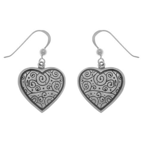 Sterling Silver Celtic Spiral Heart Dangle Earrings