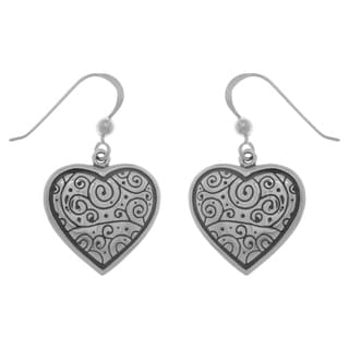 Carolina Glamour Collection Sterling Silver Celtic Spiral Heart Dangle Earrings