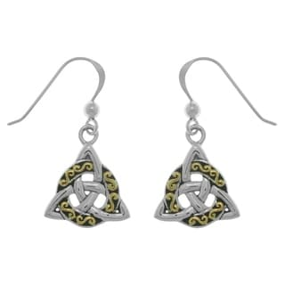 Carolina Glamour Collection Sterling Goldplated Silver Celtic Triquetra Trinity Knot Dangle Earrings