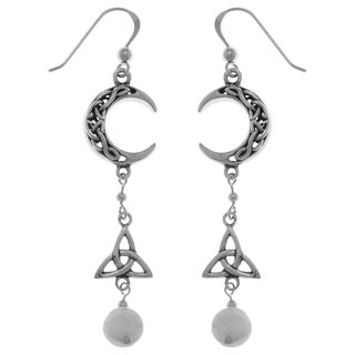 Sterling Silver Moonstone Celtic Trinity Knot Crescent Moon Long Dangle Earrings