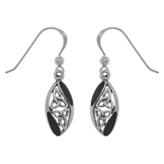 Carolina Glamour Collection Sterling Silver Black Onyx Celtic Trinity Knot Dangle Earrings