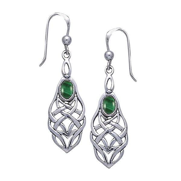 49d00e954 Shop Sterling Silver Gemstone Celtic Knotwork Dangle Earrings - On ...
