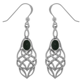 Sterling Silver Gemstone Celtic Knotwork Dangle Earrings