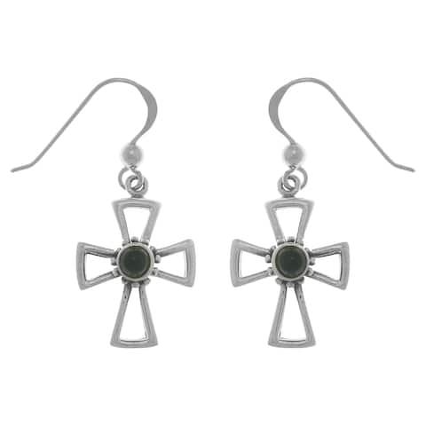 Sterling Silver Gemstone Celtic Cross Dangle Earrings