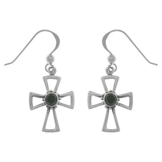 Carolina Glamour Collection Sterling Silver Gemstone Celtic Cross Dangle Earrings