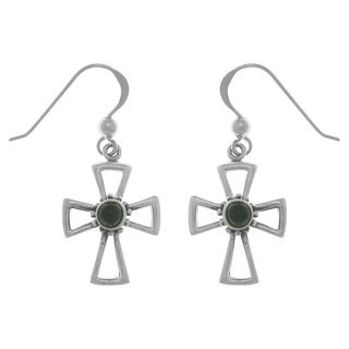 Sterling Silver Gemstone Celtic Cross Dangle Earrings