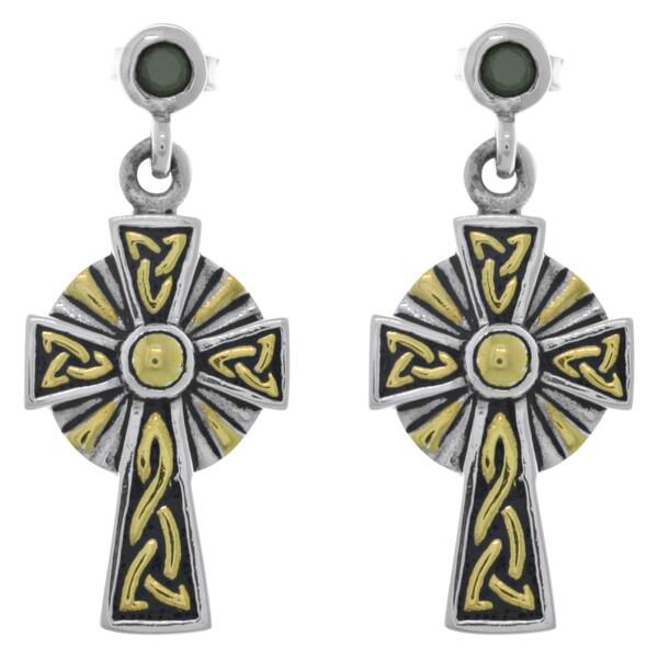 4c3a31688 Goldplated Sterling Silver Cubic Zirconia Post Celtic Cross Dangle Earrings