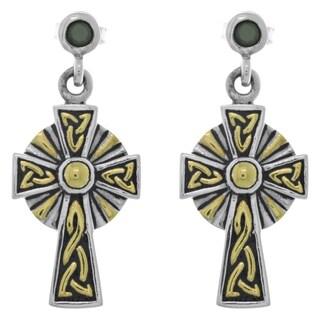 Goldplated Sterling Silver Cubic Zirconia Post Celtic Cross Dangle Earrings