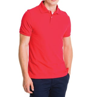 Lee Young Men's Red Short Sleeve Pique Polo Shirt