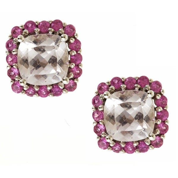 Anika and August 10k White Gold 2 3/10ct TGW Cushion-cut Morganite and Pink Sapphire Earrings