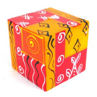 Hand-Painted Cube Candle - Zahabu Design - Nobunto Candles (South Africa)