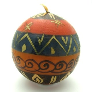 Nobunto Candles Hand-painted Round Bongazi Design Candle (South Africa)