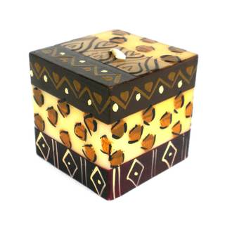 Hand-Painted Cube Candle - Uzima Design - Nobunto Candles (South Africa)