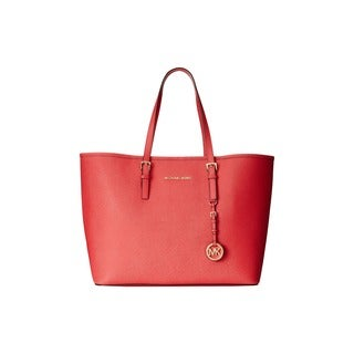 Michael Kors Jet Set Medium Watermelon Saffiano Leather Tote Bag