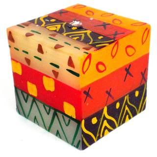 Hand-painted Indaeuko Design Nobunto Cube Candle (South Africa)