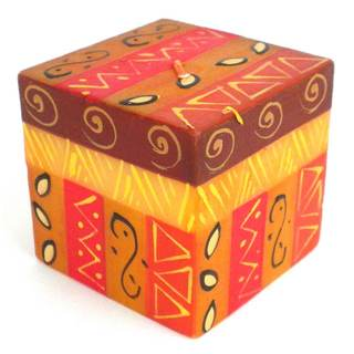 Hand-Painted Cube Candle - Bongazi Design - Nobunto Candles (South Africa)