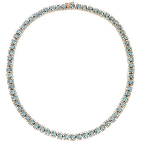 Dolce Giavonna Gold Overlay Simulated London Blue Topaz Necklace