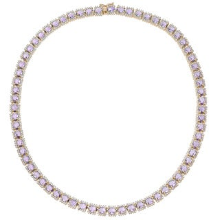 Dolce Giavonna Gold Or Silver Overlay Simulated Amethyst Necklace (2 options available)