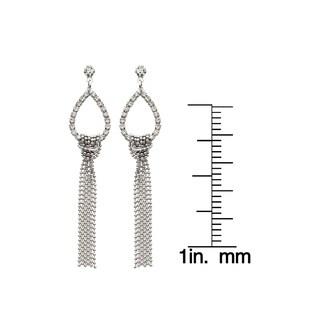 Isla Simone Silver Crystal Teardrop Fringe Earrings