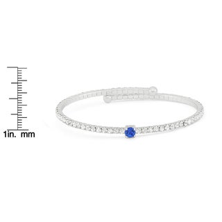 Isla Simone Adjustable Silver Plated Crystal Flex Bangle with Blue Sapphire Crystal
