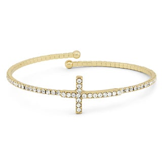 Isla Simone 14KT Gold Plated Crystal Cross Flex Bangle