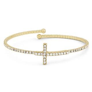 Isla Simone T Gold Plated Crystal Cross Flex Bangle
