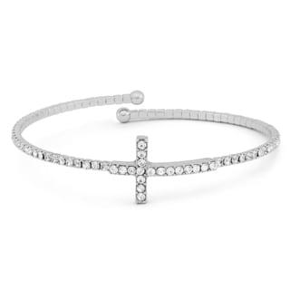 Isla Simone Silver Plated Crystal Cross Flex Bangle